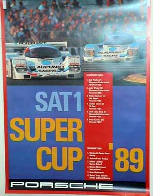 Porsche Original Rennposter 1989 - Sat 1 Super Cup - Gut Erhalten
