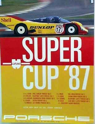 Porsche Original Rennplakat 1987 - Super Cup - Gut Erhalten