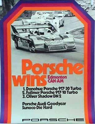 Porsche Original Rennplakat - Edmonton Can-am 1973 - Gut Erhalten