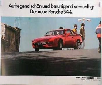 Porsche Original Werbeplakat - Porsche 944- Gut Erhalten