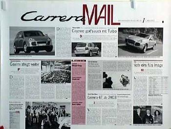 Porsche Original Werbeplakat - Carrera Mail 07.03.2002 - Gut Erhalten