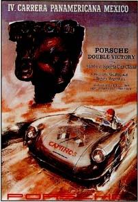 Porsche Rennplakat Reprint Carrera Panamericana