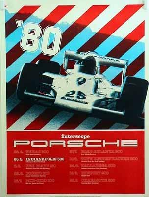 Porsche Original Rennplakat 1979 - Interscope Porsche Indianapolis 500 - Leichte Gebrauchsspuren