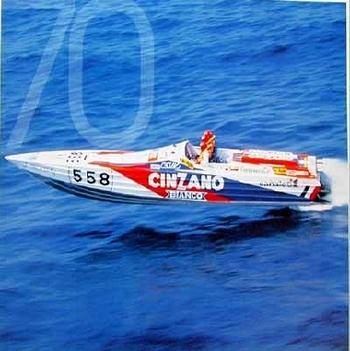 Off-shore-boot Della Valle. 70 Years Agip Poster, 1996
