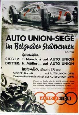 Audi Auto Union Plakat 1939