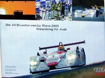 Audi Original Race Poster. 24 Hours Le Mans. Doppelsieg 2001