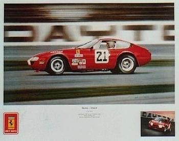 Daytona At Speed Art Print/ Poster - Ferrari 365 Gtb/4a