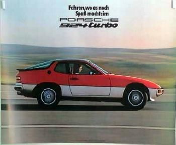 Porsche Original Werbeplakat - Spass Im Porsche 924 Turbo - Leichte Gebrauchsspuren