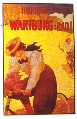 Klassische Werbung Fahrrad Wartburg
