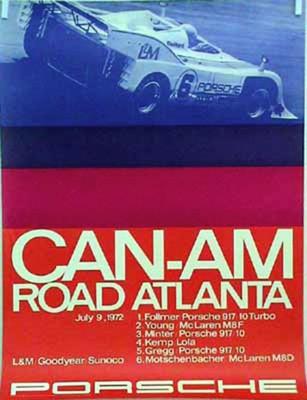 Porsche Original Rennplakat 1972 - Porsche Road Atlanta Can-am - Gut Erhalten