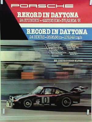 Porsche Original Rennplakat 1979 - 24 Stunden Von Daytona - Gut Erhalten
