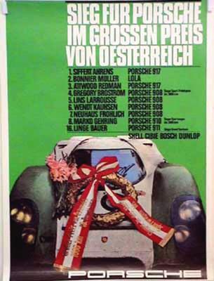 Porsche Original Reprint 1969 - Großer Preis Von Österreich Porsche 917 - Gut Erhalten