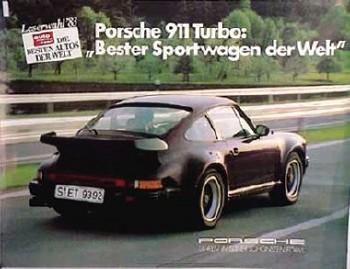 Porsche Original Werbeplakat 1984 - 911 Turbo Bester Sportwagen - Gut Erhalten