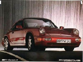 Porsche Original Werbeplakat 1988 - Porsche 964 Carrera 4 - Gut Erhalten