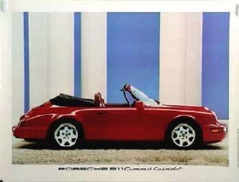 Porsche Original Werbeplakat 1989 - Porsche 964 Carrera 4 Cabriolet - Leichte Gebrauchsspuren