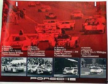 Porsche Original Rennplakat 1974, 1976, 1977, 1979 - 24 Stunden Von Le Mans - Gut Erhalten