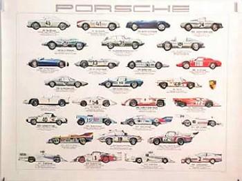 Porsche Original Werbeplakat 1980 - Automobile Rennwagen 1953-1980 - Gut Erhalten