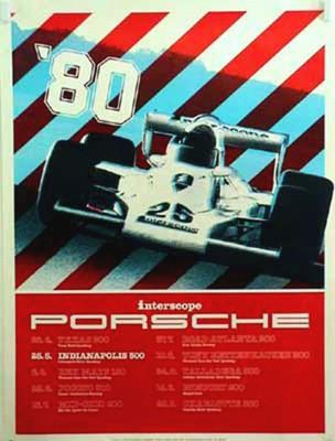 Porsche Original Rennplakat 1979 - Interscope Porsche Indianapolis 500 - Gut Erhalten