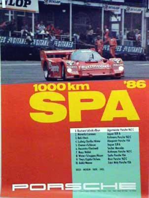 Porsche Original Rennplakat 1986 - 1000 Km Spa - Leichte Gebrauchsspuren