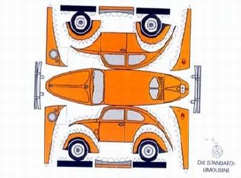Construction Postcard Vw Beetle Orange