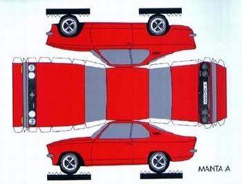 Bastelpostkarte Construction Postcard Opel Manta