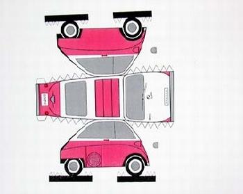 Construction Card Bmw Isetta Pink