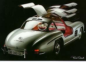 Mercedes Benz 300 Sl - Postkarte Reprint