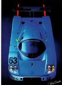 Mercedes Silberpfeil C 9 Rennen - Postkarte Reprint