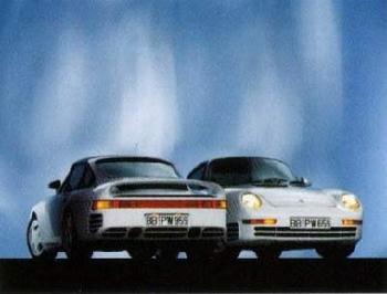 Porsche 911 Doppelmotiv 959 - Postkarte Reprint