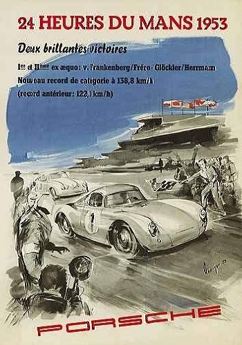 Porsche Rennplakat Reprint 24 Heures - Postkarte Reprint