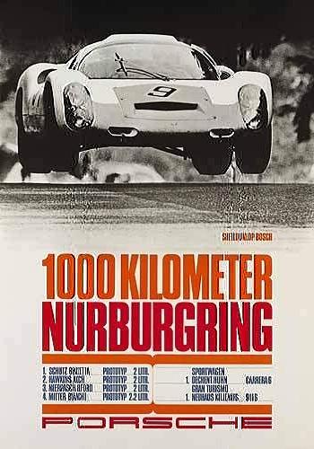 Porsche Race Reprint 1000km Nurburgring - Postcard Reprint