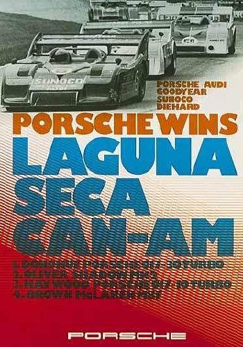 Porsche Rennplakat Reprint Wins Laguna - Postkarte Reprint