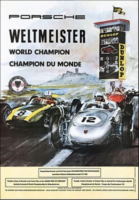 Porsche Postkarte - Weltmeister Nürburgring 1960