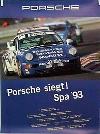 Porsche Original Rennplakat 1993 - Porsche Gewinnt Spa - Gut Erhalten