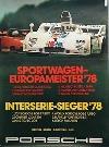 Porsche Original Rennplakat 1978 - Porsche 908/3 Turbo Siege - Gut Erhalten