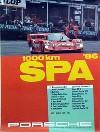Porsche Original Rennplakat 1986 - 1000 Km Spa - Gut Erhalten