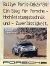Porsche Original Rennplakat 1984 - Ralley Paris Dakar - Gut Erhalten