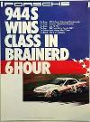 Porsche Original Rennplakat 1987 - Porsche 944 6 Stunden Von Brainerd - Leichte Gebrauchsspuren